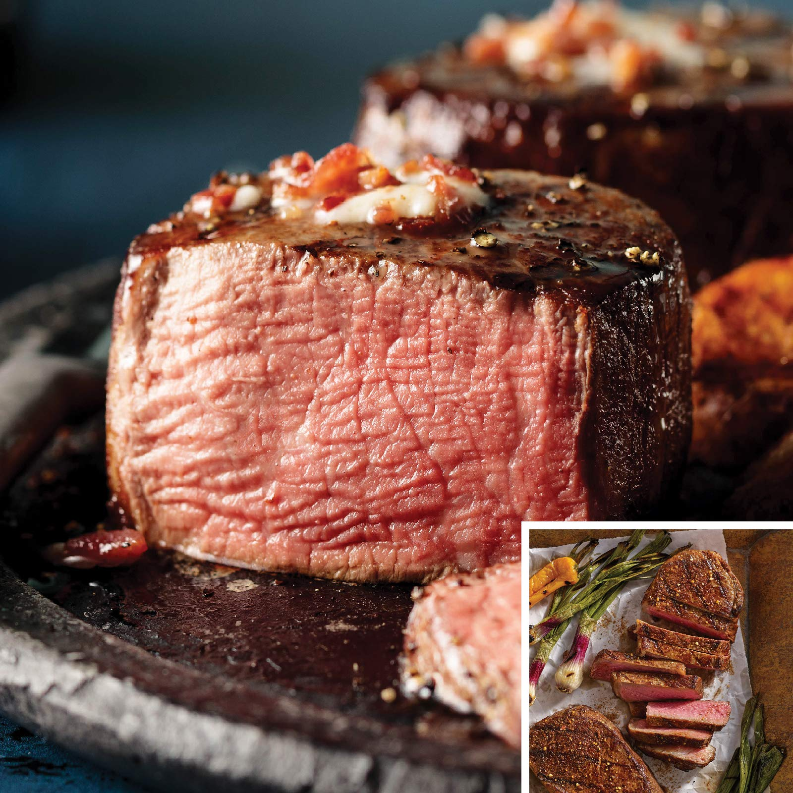 Omaha Steaks International Combo (4-Piece with Filet Mignons and Boneless New York Strips)