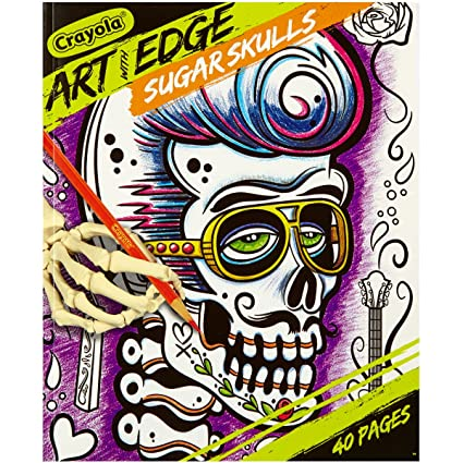 Crayola Sugar Skulls Coloring Book, Teen Coloring, 40 Pages, Gift