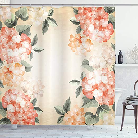 Amazon Com Ambesonne Floral Shower Curtain Blooming Hydrangea