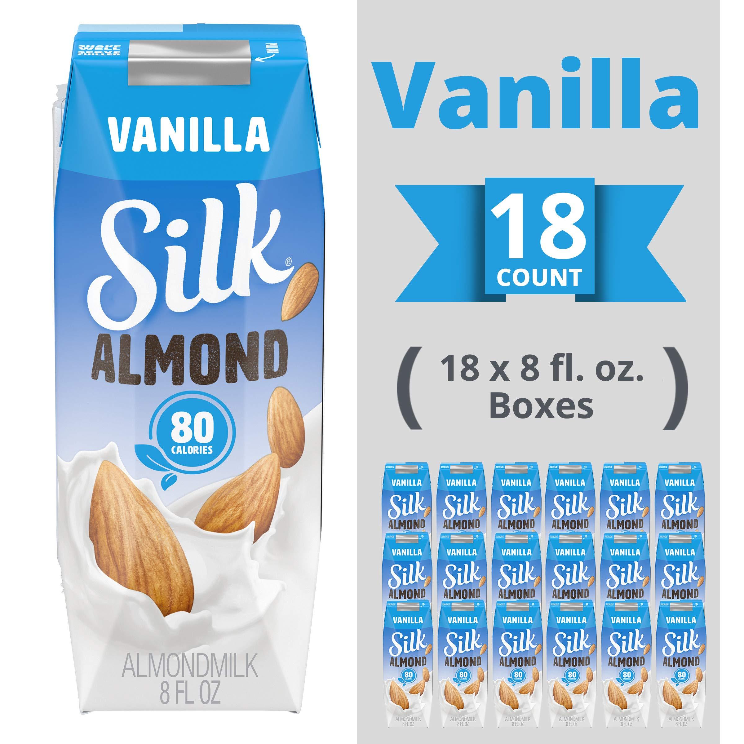 Silk Shelf-Stable Almondmilk Singles, Vanilla, Dairy-Free, Vegan, Non-GMO Project Verified, 8 oz., (Pack of 18)
