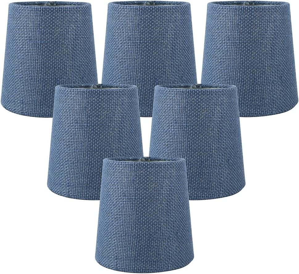 Meriville Set of 6 Denim Blue Burlap Clip On Chandelier Lamp Shades, 4-inch by 5-inch by 5-inch