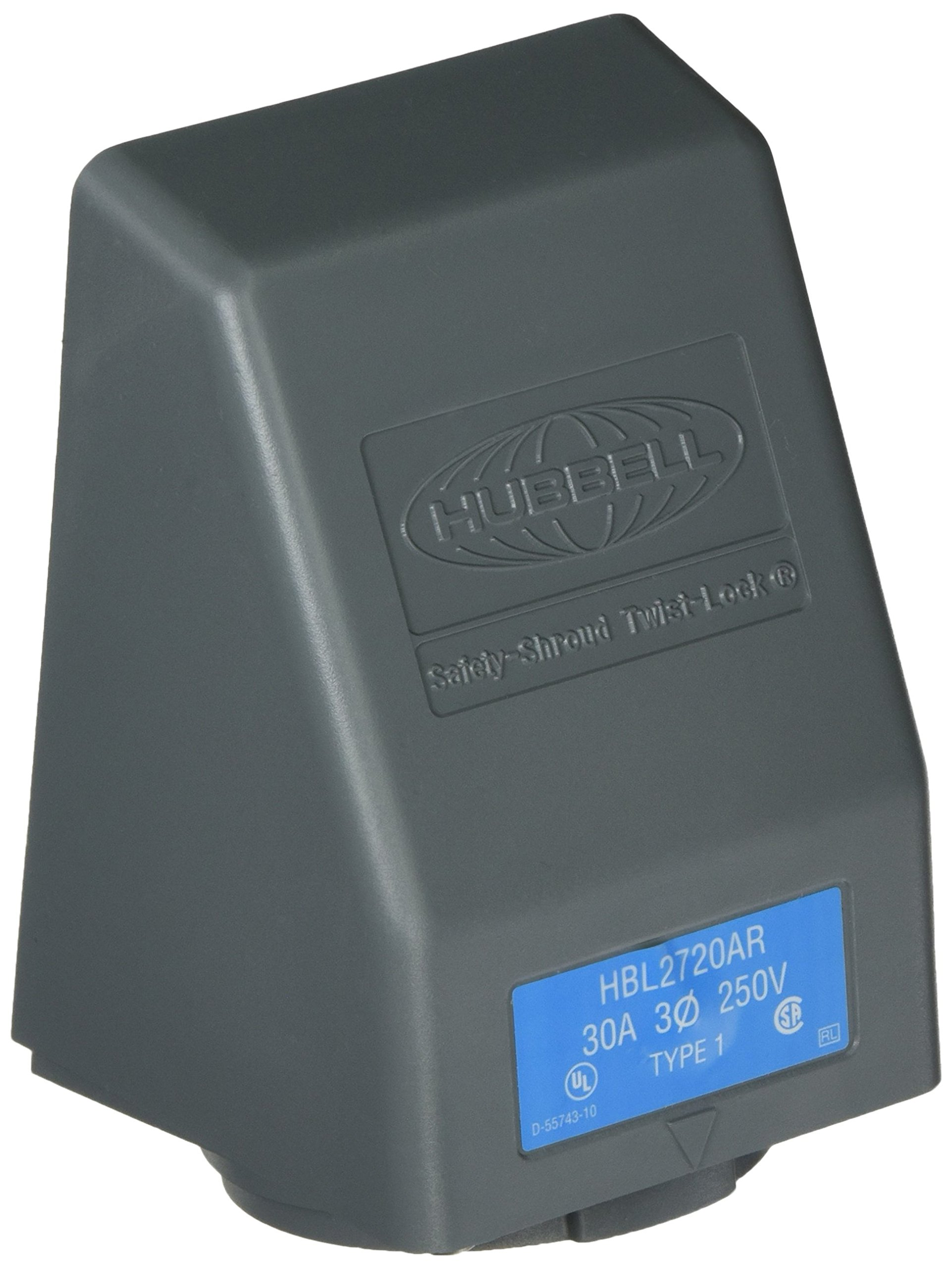 Hubbell HBL2720AR Locking Safety Shroud Receptacle, L15-30R, Angled Surface Mount, Gray
