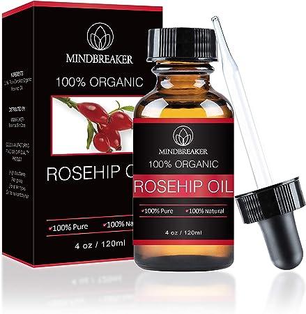 Aceite de semilla de rosa mosqueta 100% puro para la cara, las uñas, el cabello y la piel - 100% natural puro certificado y natural (120 ml)