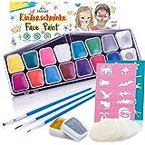 Kinderschminke Set 42 Teile | wasserlösliche Schminkfarbe | GRATIS Schwämme von Tritart