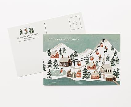 Christmas Postcards.Holiday Ski Snow Scene Christmas Postcards By Rifle Paper Co Set Of 10