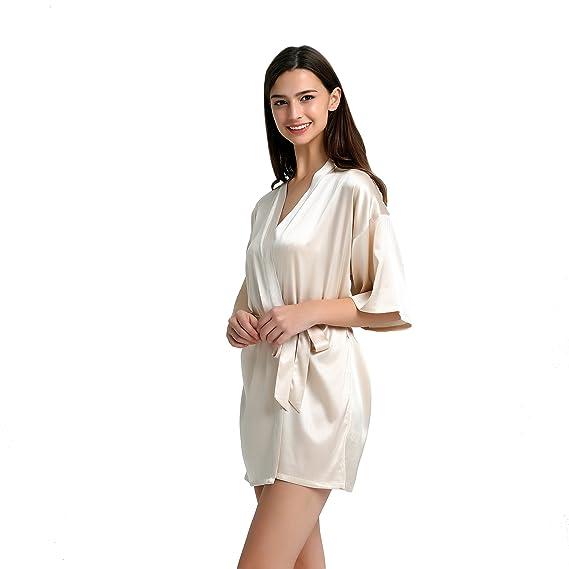 Jasmine Silk Ladies\' silk Kimono Dressing Gown---Nude: Amazon.co.uk ...