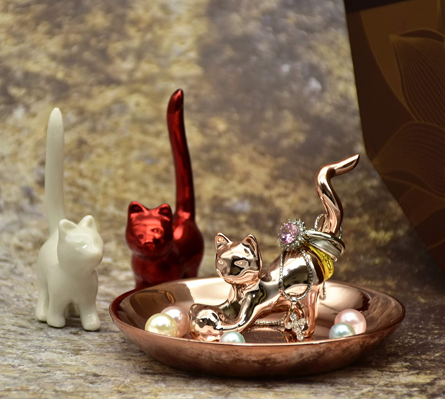 Gift for Women Birthday Wedding Jewelry Display Fancy Cat Jewelry Holder Ceramic Ring Trinket Dish Rose Gold Color Tray