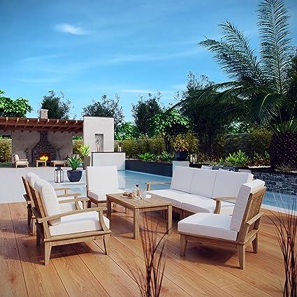 Modway Marina Teak Wood 8 Piece Outdoor Patio Furniture Set In Natural White