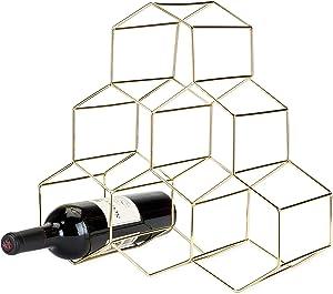 """Viski Belmont Geo Rack Freestanding Wine Racks & Cabinets Holds 6 Bottles, 14.25"""", Gold"""