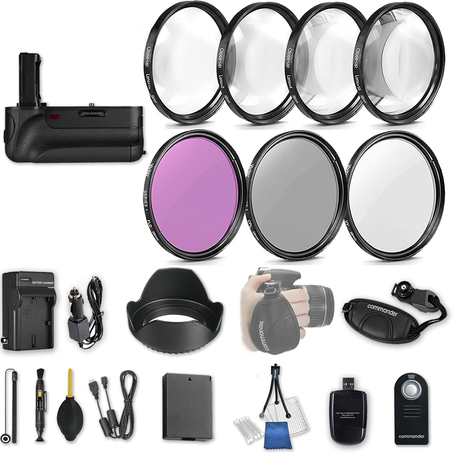 58mm 21 Pc Accessory Kit for Canon EOS Rebel T6, T5, T3, 1300D, 1200D, 1100D DSLRs with Battery Grip, UV CPL FLD Filters, & 4 Piece Macro Close-Up Set, Battery, and More by 33rd Street