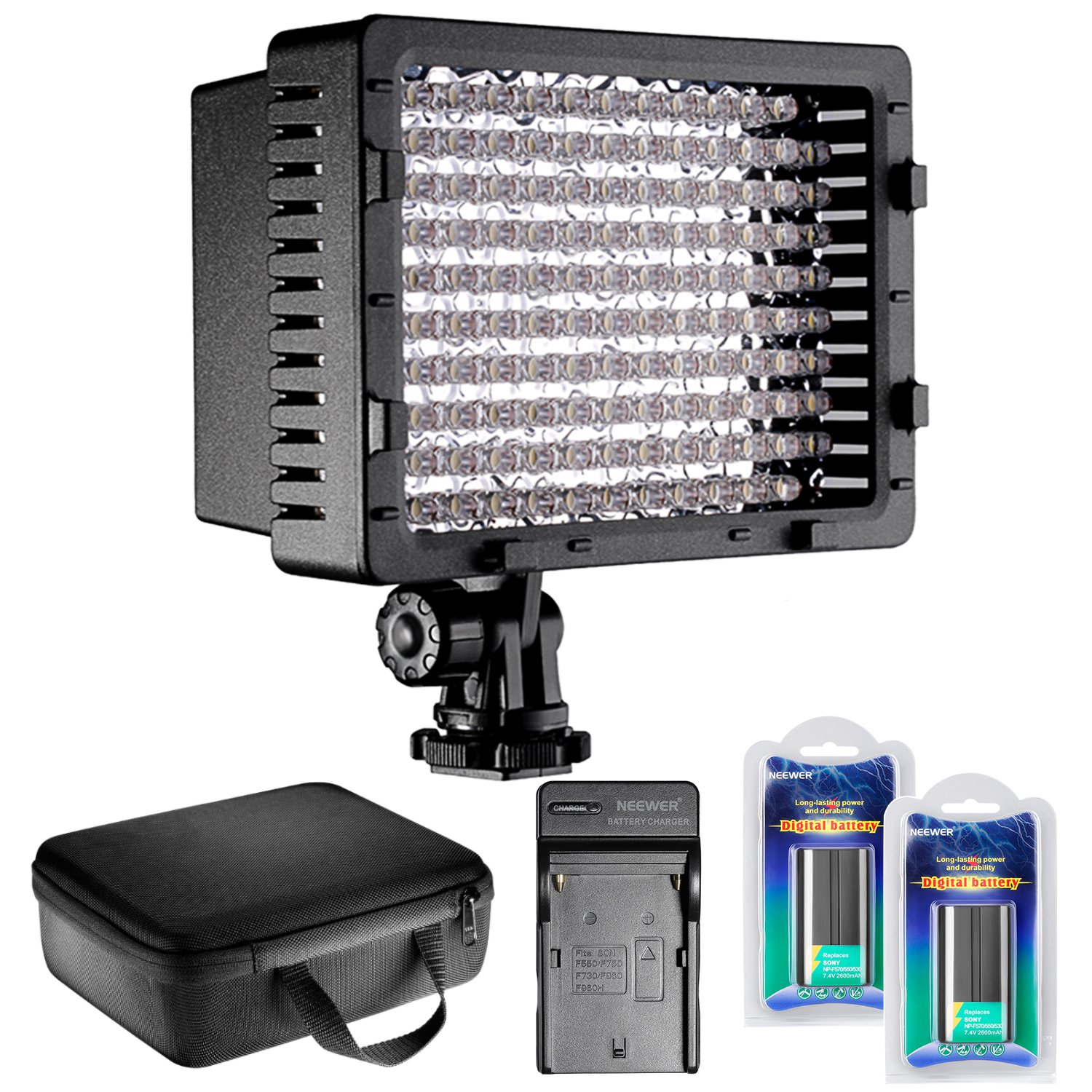 Neewer CN-126 LED Video Light Dimmable Lamp Panel Kit Includes: Video Light Color Filters, Battery, AC Wall Charger Car Adapter Carrying Case Cannon DSLR Cameras DV Camcorders 90090012@@##1
