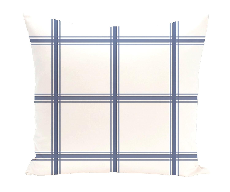 E by design PGN127BL15-20 PGN127BL15-20 Windowpane Plaid Geometric Print Pillow, Cadet,Blue