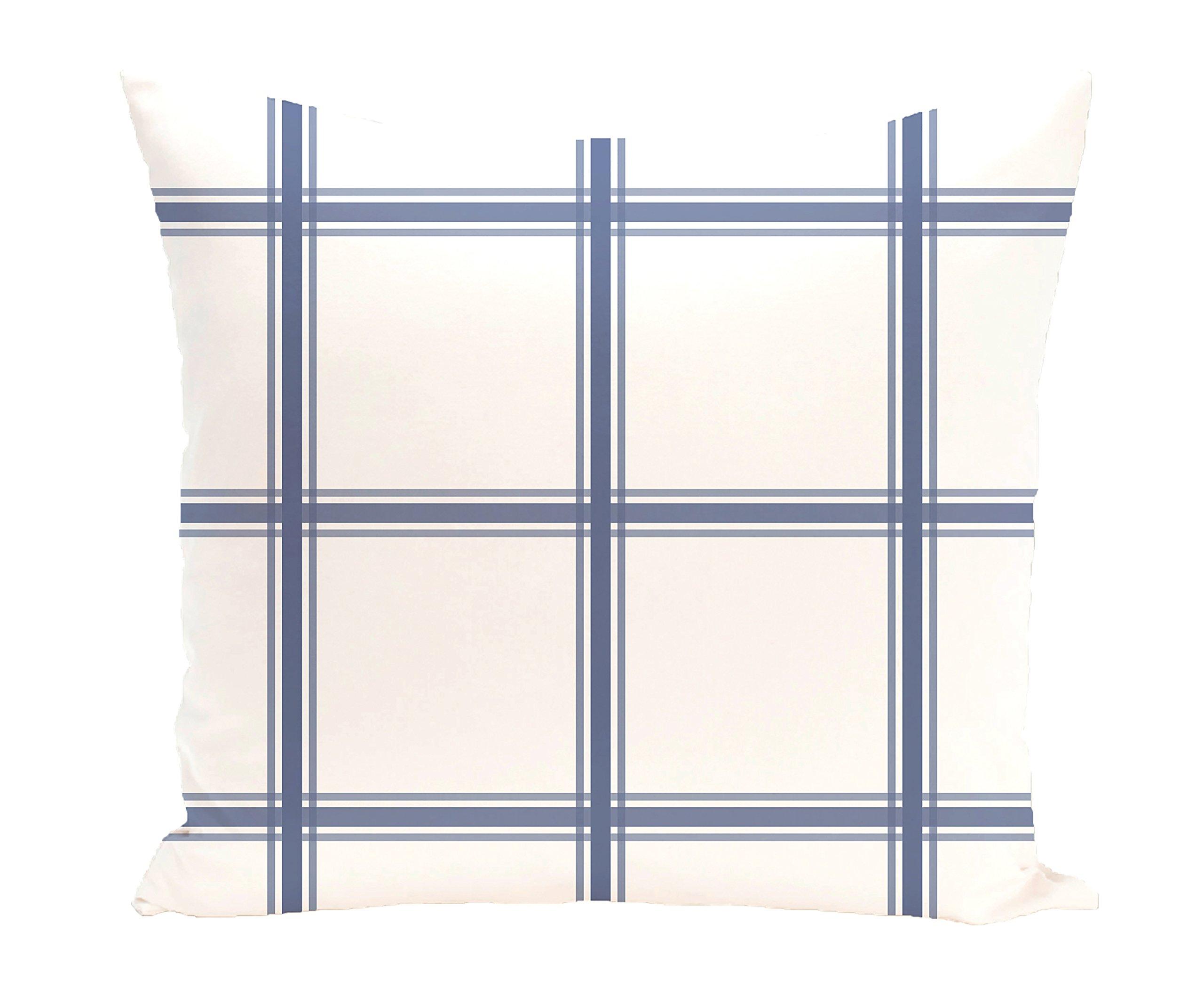 E by design PGN127BL15-26 PGN127BL15-26 Windowpane Plaid Geometric Print Pillow, Cadet,Blue