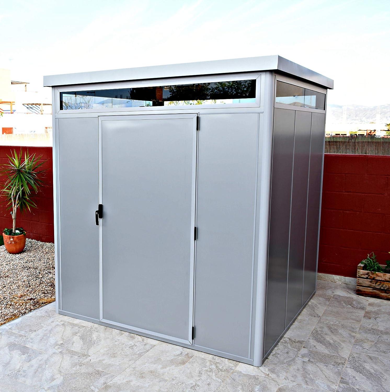 Thermoestank Caseta de Jardín Metal con Aislamiento térmico con Marcos de Aluminio y Vidrio cámara 2.04 x 2.04 MTS: Amazon.es: Jardín