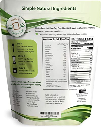 Judee s Egg White Protein Powder 4 lbs Keto, Non GMO, Dairy Free, Soy Free, Dedicated Gluten Nut Free Facility, Made in USA