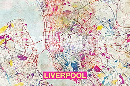 TPCK // Liverpool (England, UK) Artistic Modern Map - Photo Poster ...