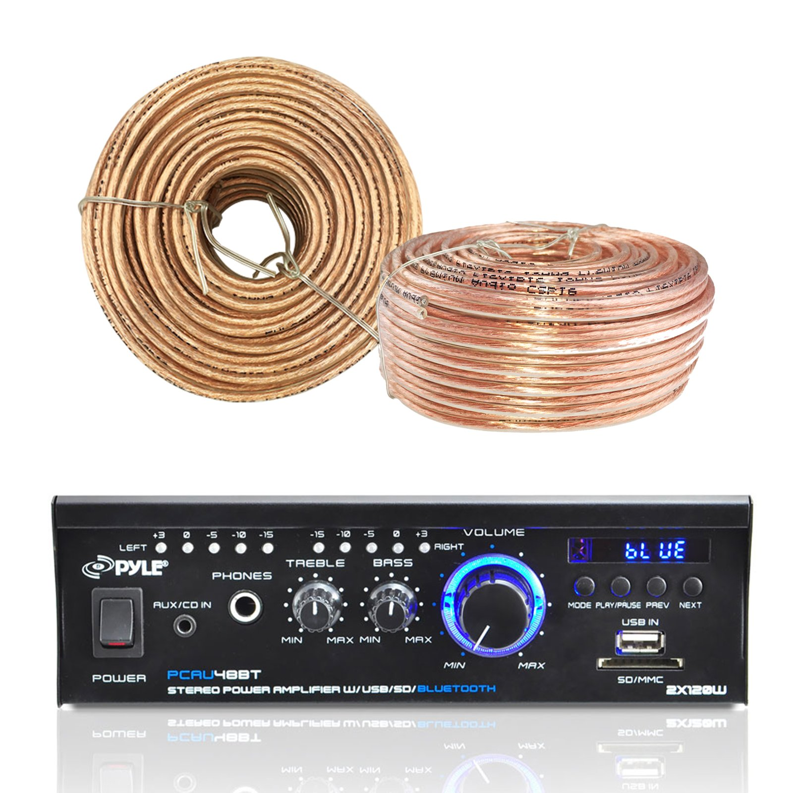 Pyle PCAU48BT Amplifier Receiver with Bluetooth USB/SD Readers AUX CD Inputs & LED Display, Enrock Audio 18 AWG Gauge 100 Feet Speaker Wire Cable