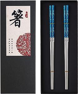 Titanium Plated Chopstick Stainless Steel Chopsticks Metal Chopsticks Reusable Dishwasher safe Premium Laser Engraved Chop Sticks for Eating 2 Pairs Gift Set Blue Silver