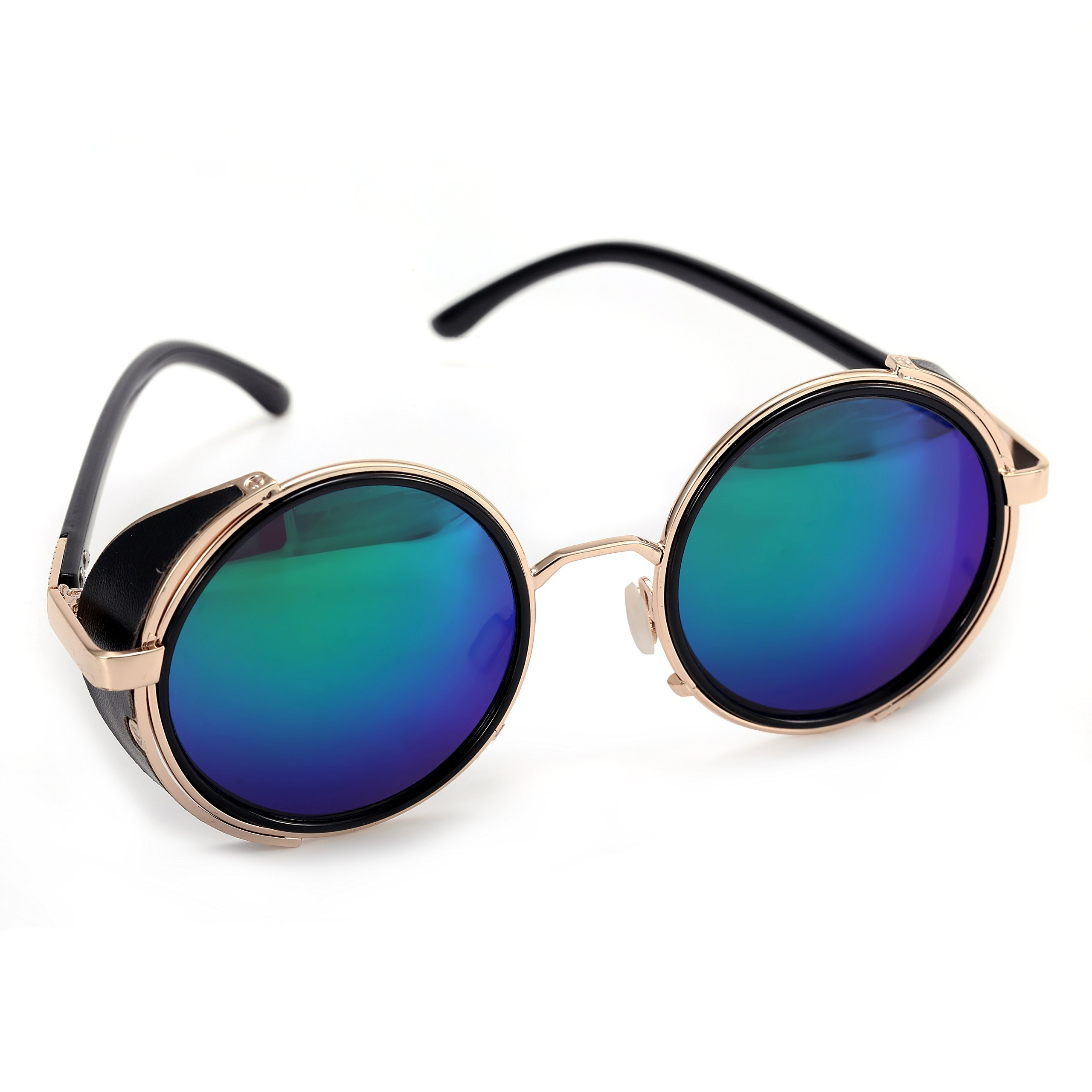 0ed1e2277e8 Details about Mirror lens Round Glasses Cyber Goggles Steampunk Sunglasses  Vintage