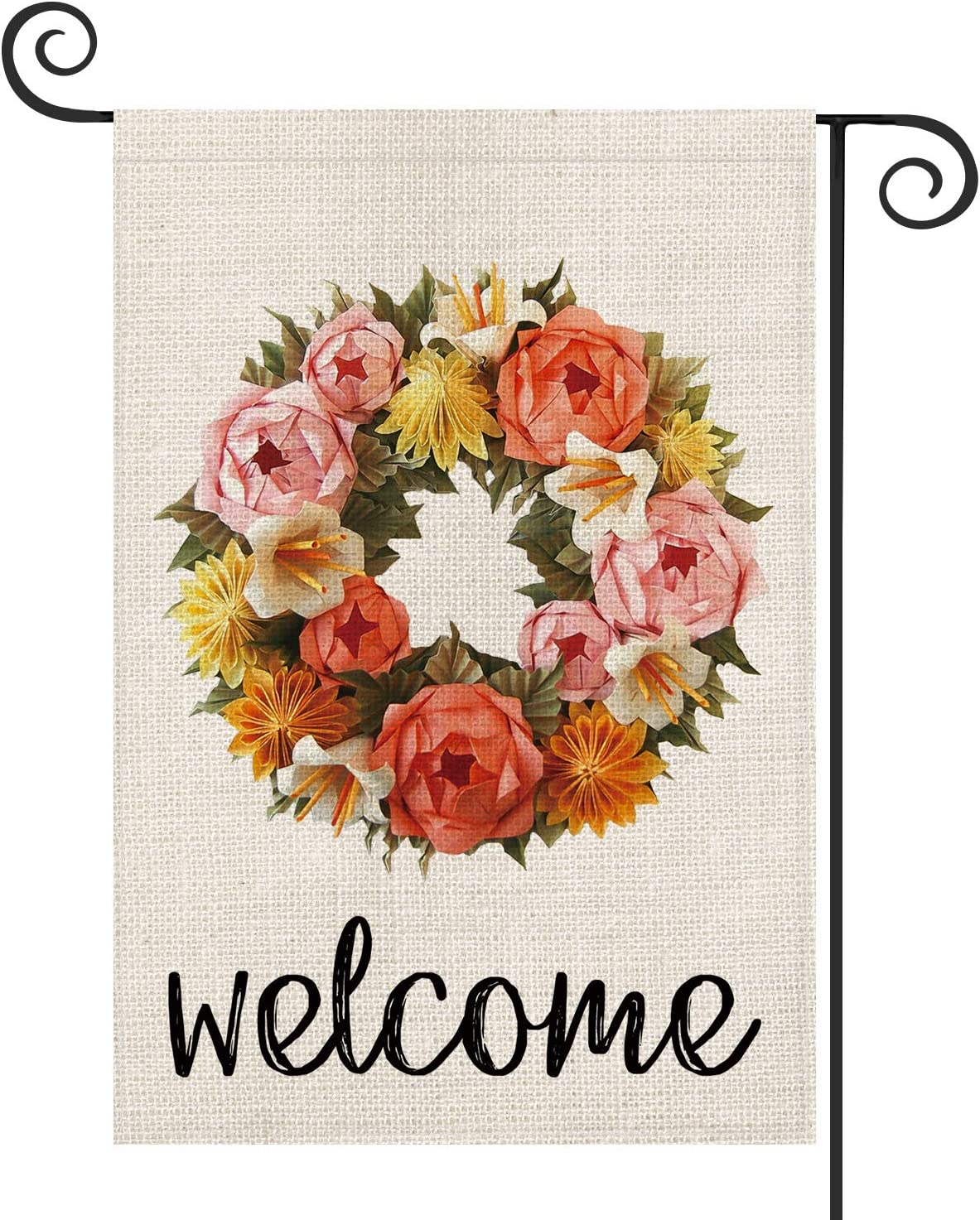 AVOIN Welcome Rose and Dahlia Origami Wreath Garden Flag Vertical Double Sided, Spring Summer Mother's Day Easter Flag Yard Outdoor Decoration 12.5 x 18 Inch