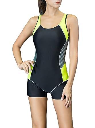 a35cc41057fa2 Spring Fever Women Slimming One Piece Boyleg Swimsuit Raceback Athletic Swimwear  Black Yellow Small (US