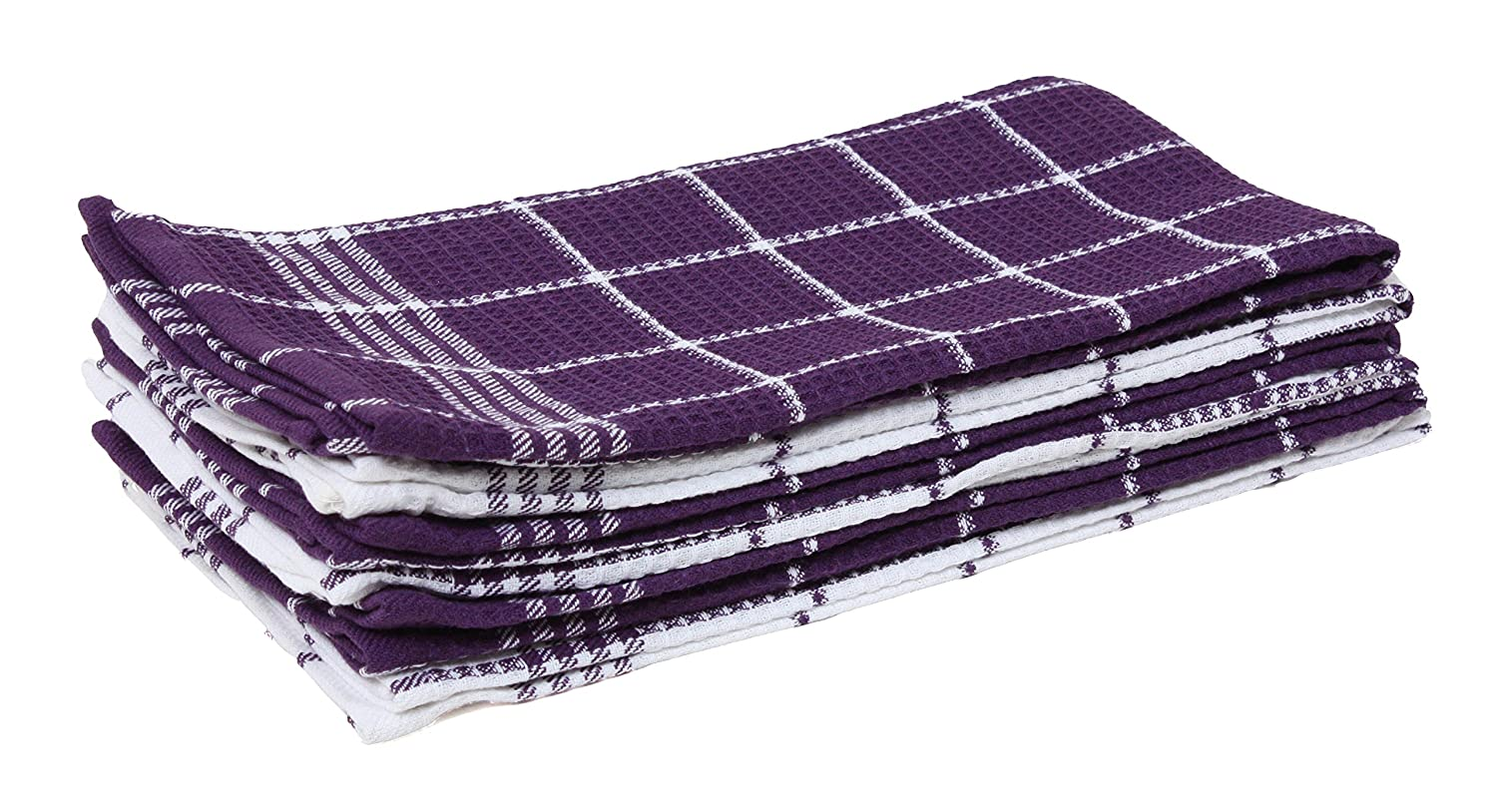 "Cotton Waffle Checkered Terry Dish Towels, 18x25"" Set of 6, Absorbent Durable Drying Cleaning Kitchen Towels-Eggplant Purple/White"