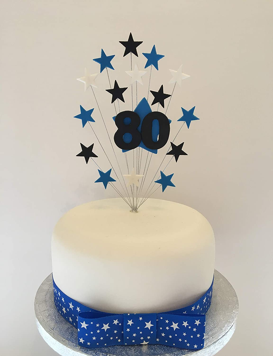 Amazing 80Th Birthday Cake Topper Blue Black And White Stars Approx 16 Cm Funny Birthday Cards Online Elaedamsfinfo