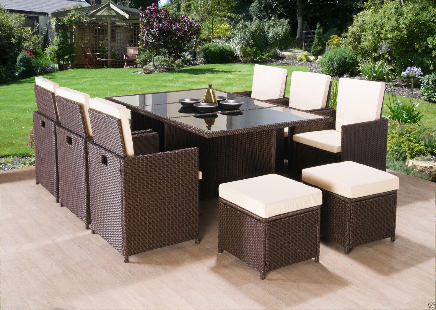 Rattan gartenmöbel braun  Luxus 10 Sitzer Rattan Gartenmöbel Cube Set Esstisch Stuhl ...
