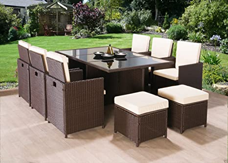 Set Da Giardino In Wicker.Frankfurt Co Rattan Cube Garden Furniture Set 10 Seater Outdoor