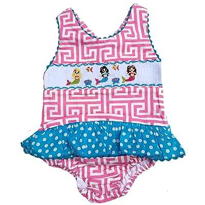 f477322f67572 Babeeni Girls Swim Suit Pink & Aqua Smocked Mermaid One Piece ...