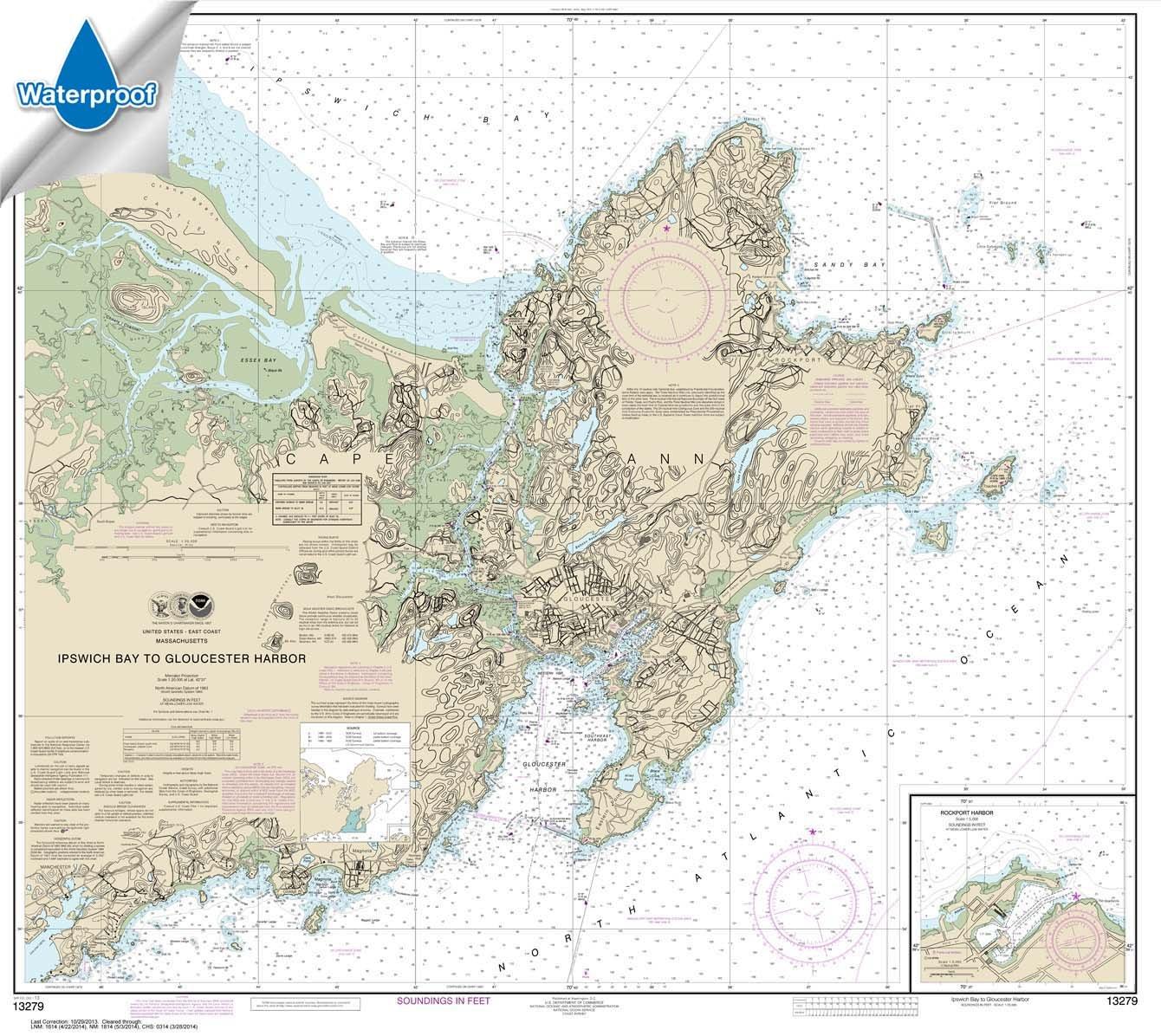 Ipswich Bay to Gloucester Harbor; Rockport Harbor 35.5 x 39.8 Paradise Cay Publications NOAA Chart 13279 WATERPROOF