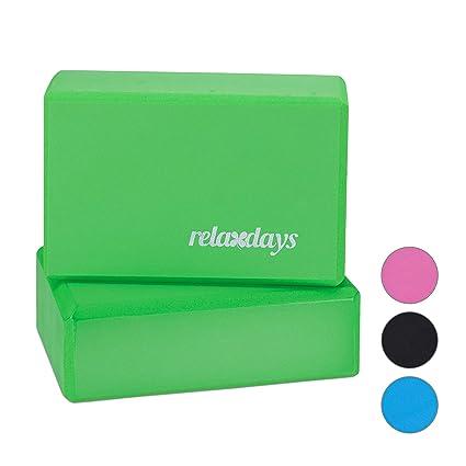 Relaxdays Pack de 2 Bloques de Yoga, Adultos Unisex, Verde ...