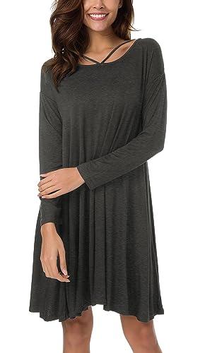 Urban GoCo Mujeres Túnica Camisa Tops Casual Criss Cross Camiseta Vestido