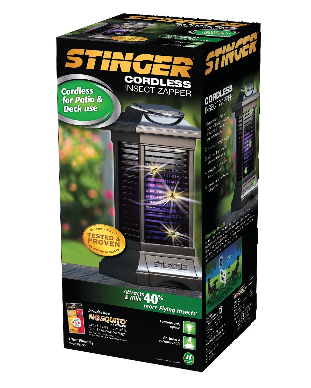 Amazon.com : Stinger Cordless Rechargable Insect Zapper, Black : Home Insect  Zappers : Garden U0026 Outdoor