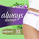 Always Discreet Incontinence & Postpartum Incontinence Underwear for Women, Small/Medium, Maximum Protection, 32 Count