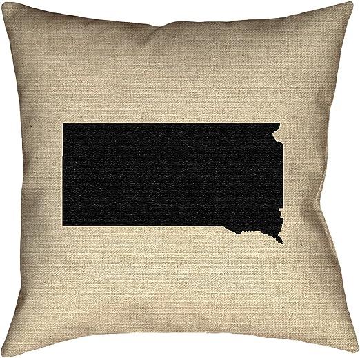 ArtVerse Katelyn Smith 26 x 26 Spun Polyester Nebraska Outline Pillow