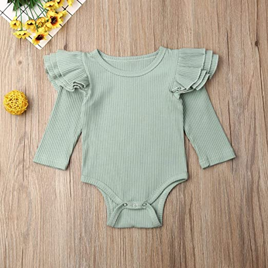 Newborn Baby Girls Romper Floral Ruffle Fly Sleeve Bowknot Bodysuits Boho Jumpsuit C-Yellow, 0-3Months