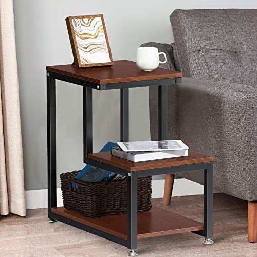 End Table, 3-Tier Side Table with Storage Shelf, Night Stand Table Rustic Sofa End Table for Living Room Bedroom, Espresso