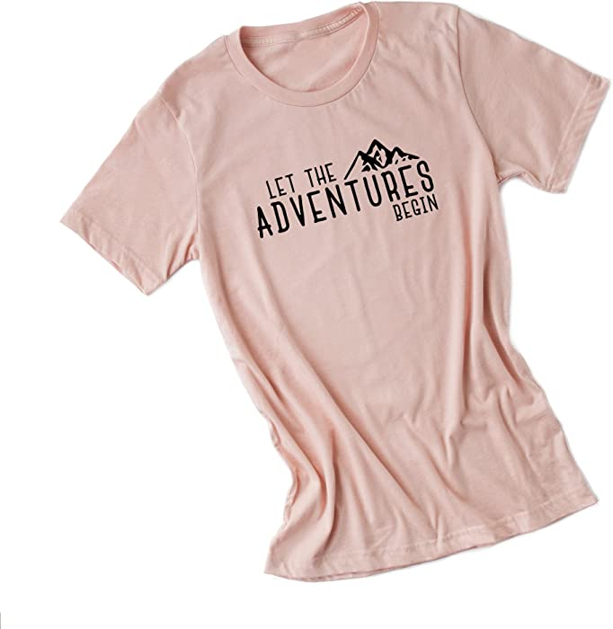 d033f516 Amazon.com: Simply Sage Market Let The Adventures Begin-Women's Short Sleeve  Camping Graphic Tee Shirt-Blush Crew-Black Ink-XS: Clothing