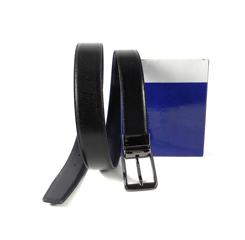 Cinturón hombre piel clásico reversible negro - azul marino Miguel Bellido con hebilla plateada oscura