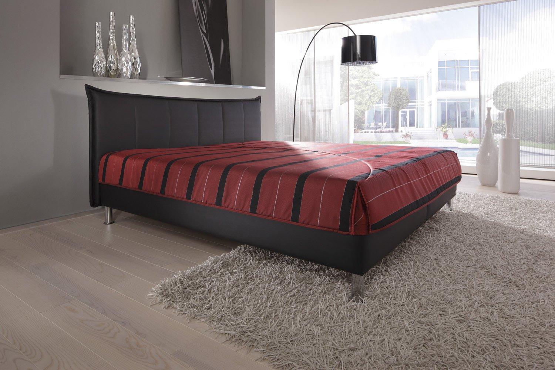 Modern Living -( KT1 ) Polsterbett. Es steht bodenfrei auf ca. 10 cm hohen Chromfüßen. Mit Bettkasten. Ausführung B: Lose aufliegende 7-Zonen-Kaltschaummatratze (Härtegrad 2). Größe: 200x200 cm