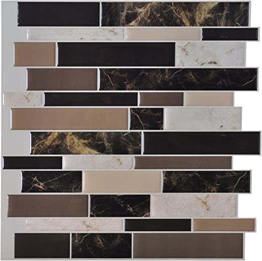 Art3d 6-Pack l and Stick Vinyl Sticker Kitchen Backsplash Tiles, 12