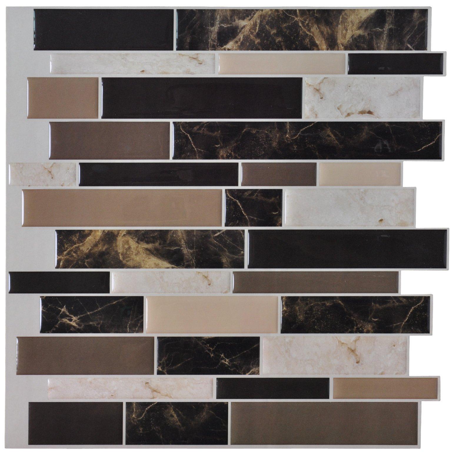 Art3d 6-Pack Peel and Stick Vinyl Sticker Kitchen Backsplash Tiles, 12'' x 12'' Marble Design