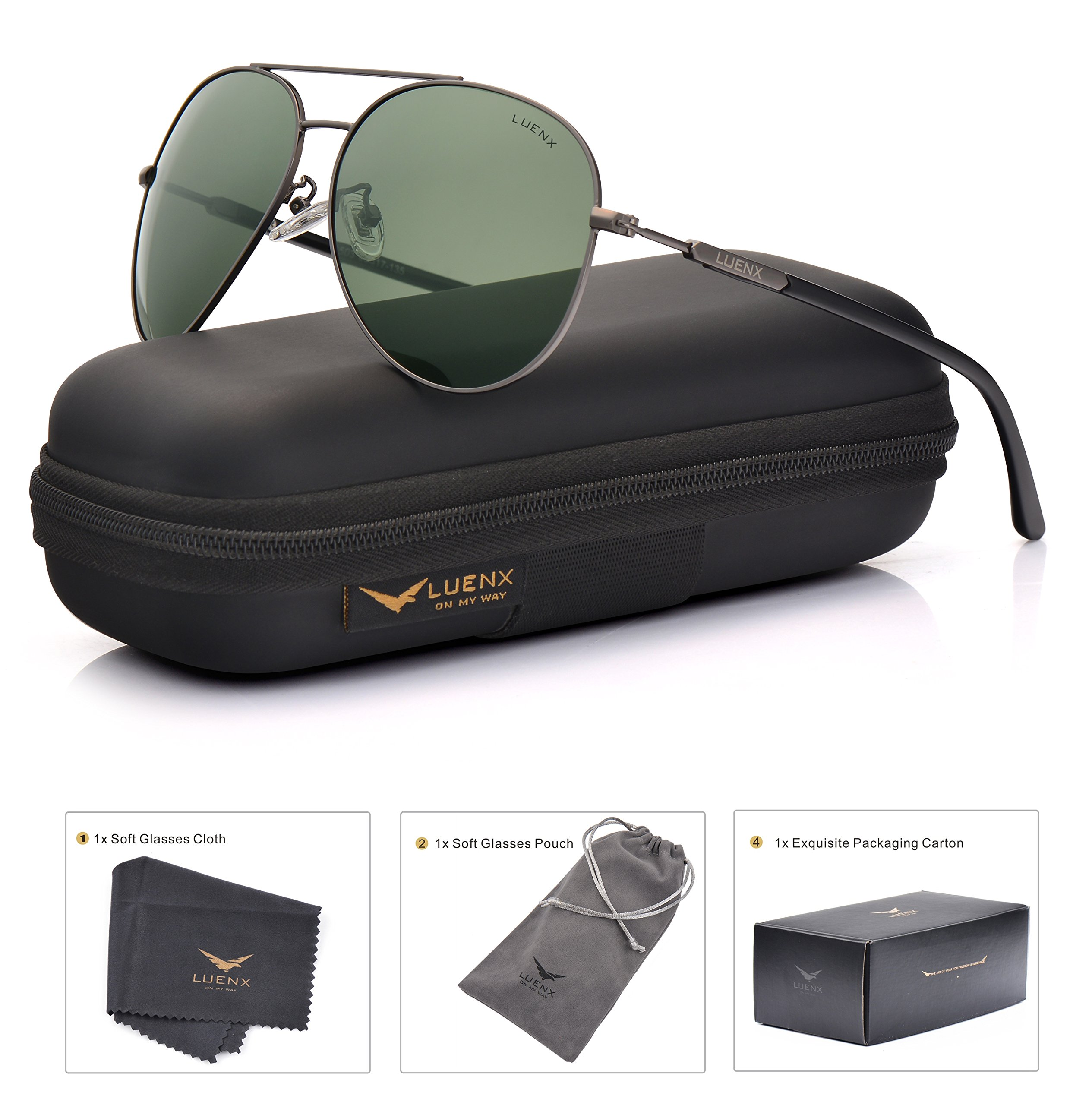 LUENX Mens Womens Sunglasses Aviator Polarized Dark Green Lens Gun Metal Frame - UV 400 Protection 60mm Driving