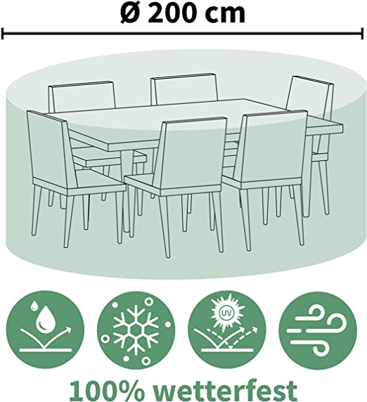 HOUSSE RONDE POUR TABLE DE SALON DE JARDIN diam 200 x H80