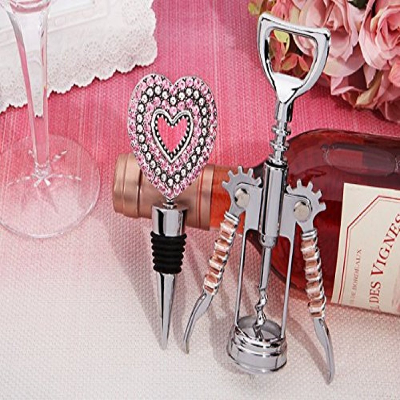 Amazon.com: Pink Crystal Heart Bottle Opener and Stopper Set - 84 ...
