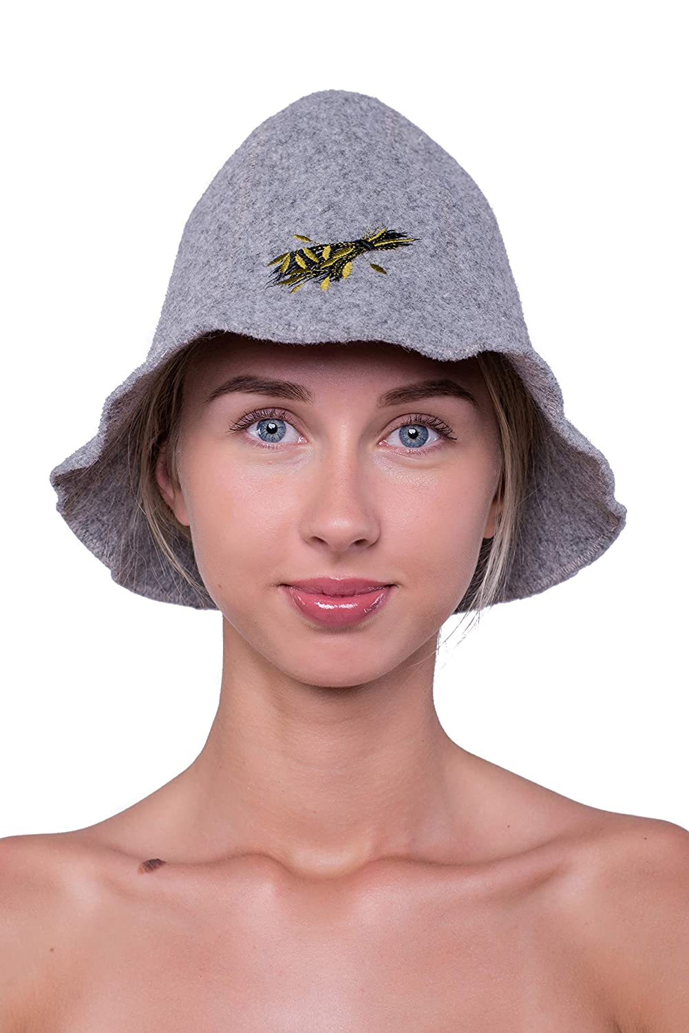 Wellness Cap Premium Quality Bath Broom Ger3as Sauna Hat Wool with Embroidery for Men and Women