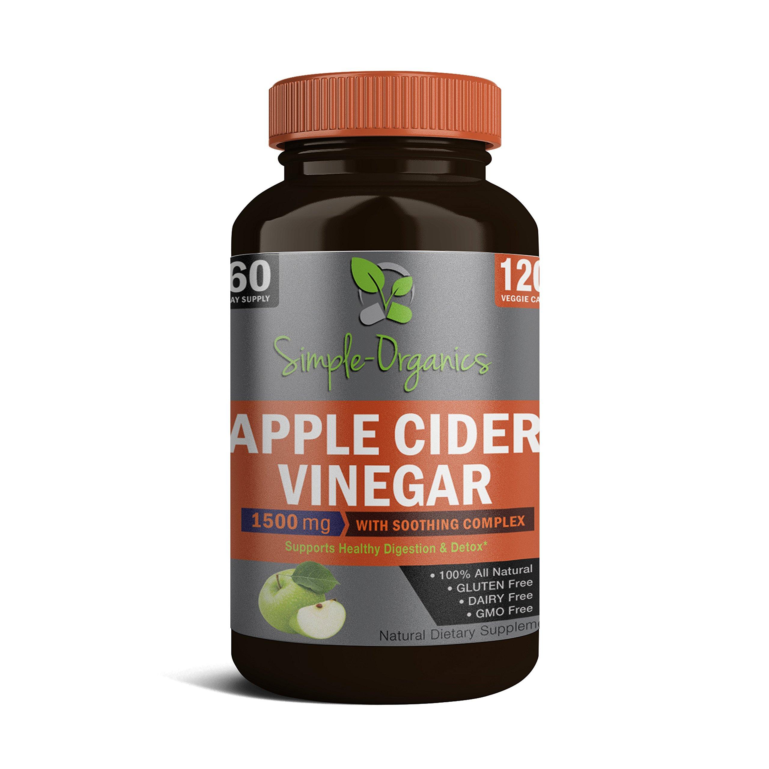 Organic Apple Cider Vinegar - Premium strength 1,630mg 100% Natural Weight Loss, Detox, Blood Sugar and Digestion Support, 120 Vegan capsules