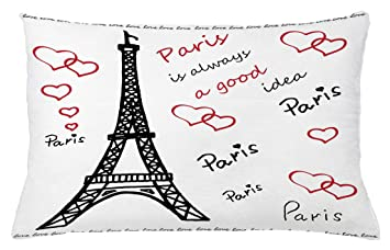 Amazoncom Ambesonne Eiffel Tower Throw Pillow Cushion Cover