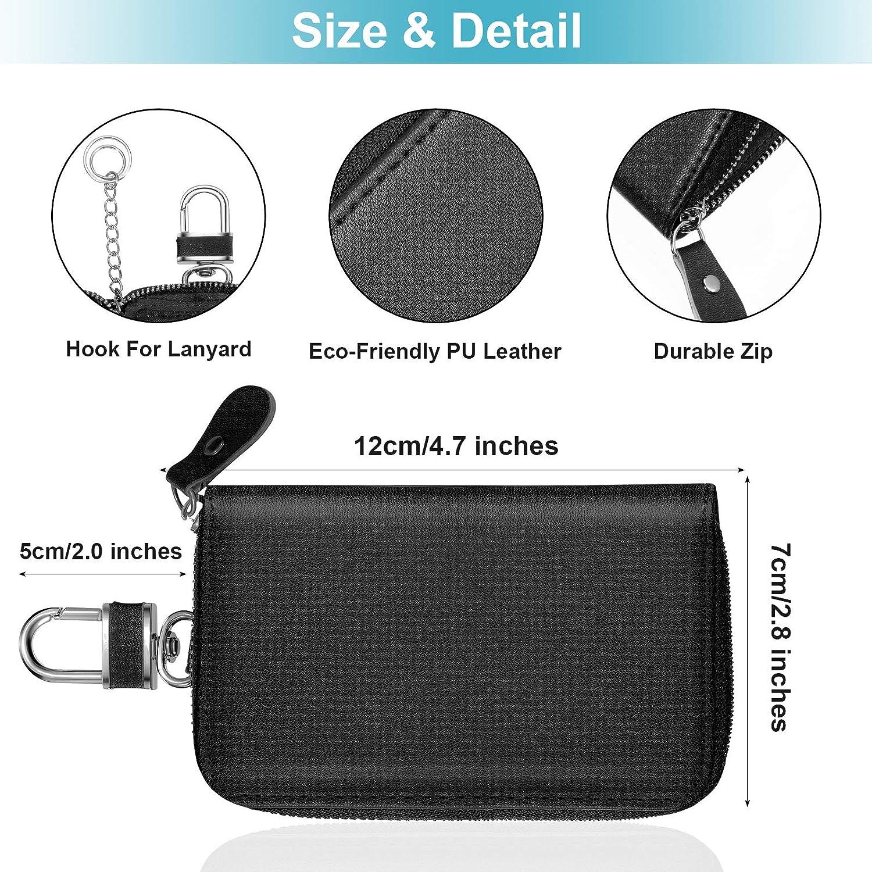 2 Pieces 2 in 1 Faraday Key Bags Car Signal Blocking Bags Car Key Holder Zipper Bags in Black for Car Key Storage